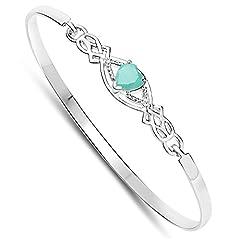 Idea Regalo - Rennie Mackintosh Stile di Cuore di Smeraldo di argento Braccialetto Clip