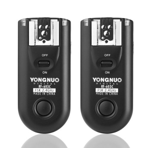 Yongnuo RF-603 C1 2.4GHz Wireless Flash Trigger/Wireless Shutter Release Transceiver Kit for Canon Rebel 300D/350D/400D/450D/500D/550D/1000D Series  available at amazon for Rs.4199