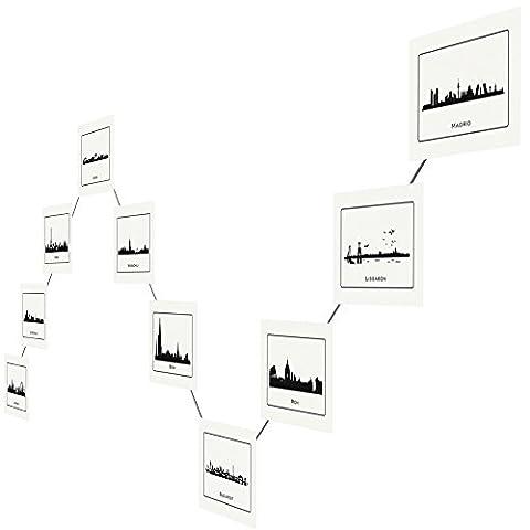 LeTOMA - Câble-photo en acier plastifié pour une décoration moderne - montage rapide et facile sur un mur - 200 cm de câble images et 20 puissants aimants en néodyme, vous offrent une adhérence idéale pour de nombreuses photos, cartes postales et notes.