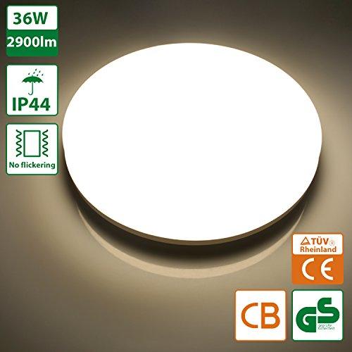 Oeegoo 36W IP44 LED Deckenleuchte Badlampe 2900 Lumens -ersetzt 200 Watt Glühbirne Deckenlampe Kein Lärm/Flimmern Für Wohnzimmer Bad FLur Büro Küche Lager Hotel Neutralweiß(4000K-4500K) φ40*4.8CM