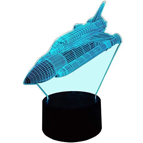 HPBN8 3D Rakete Illusions LED Lampen Tolle 7 Farbwechsel Acryl berühren Tabelle Schreibtisch-Nacht licht mit USB-Kabel für Kinder Schlafzimmer Geburtstagsgeschenke Geschenk.