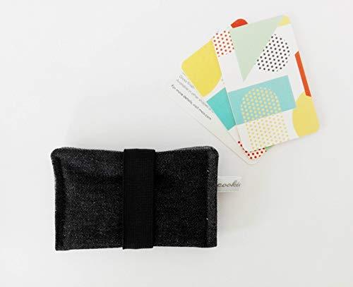Kartenetui mit Gummiband. Für bis 10 Karten/Geldbörse/ Visitenkarten/Etui/ Täschchen/Kleines Geschenk. Schwarz-Dunkelgrau-Schwarz