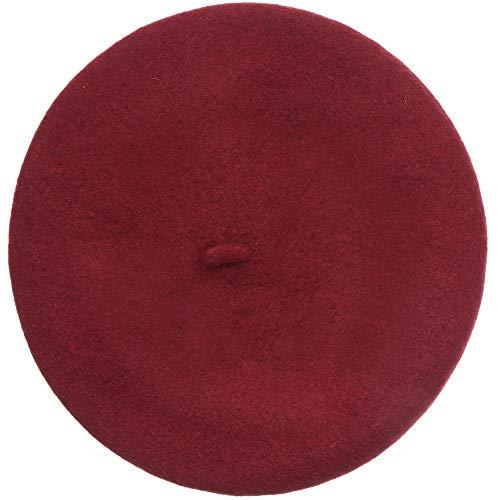 MIRMARU Damen Baskenmütze im französischen Stil, weiche Wollmischung, lässig, warm, klassisch - Rot - Einheitsgröße -