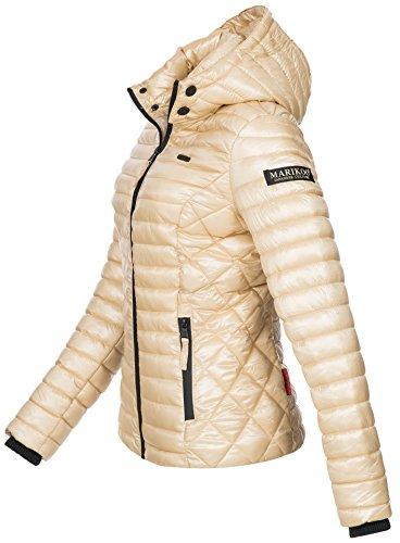 Marikoo Damen Jacke Steppjacke Übergangsjacke mit Kapuze gesteppt B600 Gold