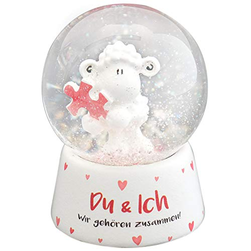 Sheepworld 45325 Traum-Kugel Du und Ich, mit Schaffigur und Glitzer-Schnee, Glas-Kugel, Höhe ca. 6,5 cm
