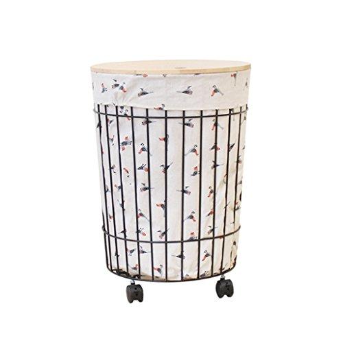 STORAGE BOXES HOME Hierro Arte Cesta de ropa sucia, vintage con tapa Cesta de almacenamiento Cesta de lavandería doméstica Mesa de café con ruedas Caja de almacenamiento con ruedas 40 * 57 cm Almacena