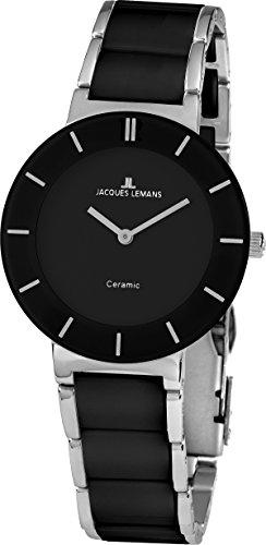 Jacques Lemans Damen Analog Quarz Uhr mit Keramik Armband 1-1866A