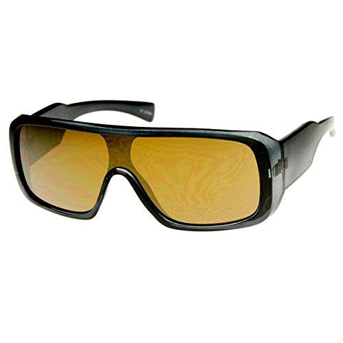 ZeroUV-Rettangolare mono Flash Specchio Shield Lens Sport Occhiali da sole Smoke Brown Taglia unica