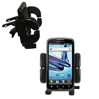 Motorola Atrix Refresh compatible Vent Vehicle Mount Cradle - Unique Auto Car Holder Clips into Air Vents. Lifetime Warranty