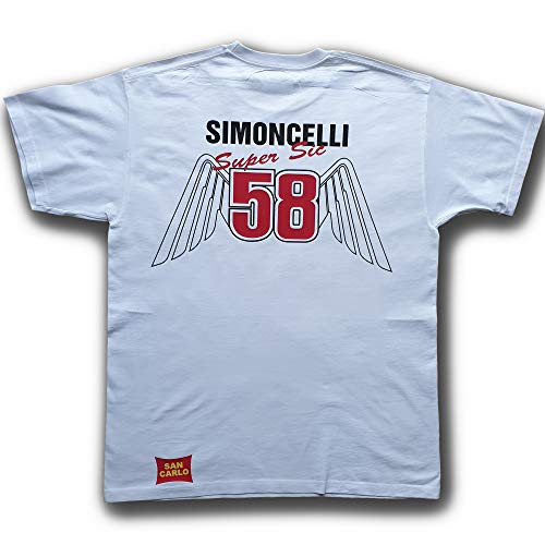! T-Shirt con Scritte 'Marco Simoncelli', '58' e Ali, Bianca - XL