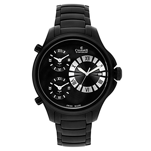 Charmex Cosmopolitan II 2610 48mm Ion Plated Stainless Steel Case Black Steel Bracelet Synthetic Sapphire Men's Watch
