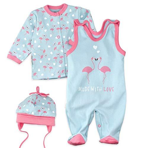 Baby Sweets Baby Set Strampler Shirt Mütze Mädchen türkis rosa   Motiv: Made with Love   Babyset 3 Teile für Neugeborene & Kleinkinder   Größe: 3-6 Monate (68)... -