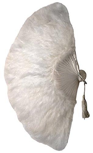Keamingk Fächer aus Federn in weiß | Radius ca. 18cm | Feder-Fächer für Karneval und Fasching