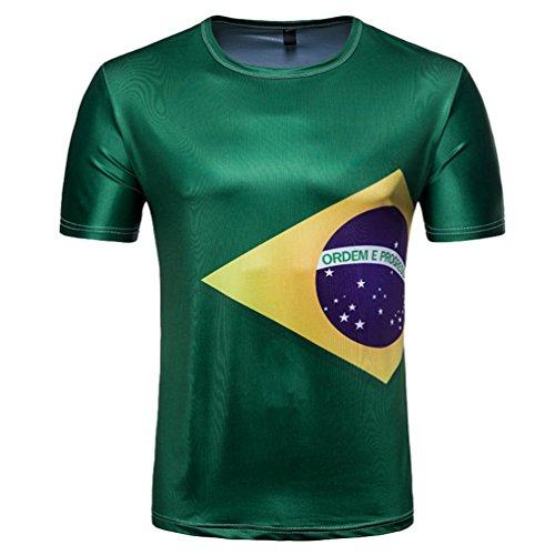 YuanDian 2018 Fußball WM Herren Damen Fans T Shirts 3D Nationalflagge Druck Kurzarm Rundhalsausschnitt Deutschland Fussball Tee Shirt Brasilien 2# M
