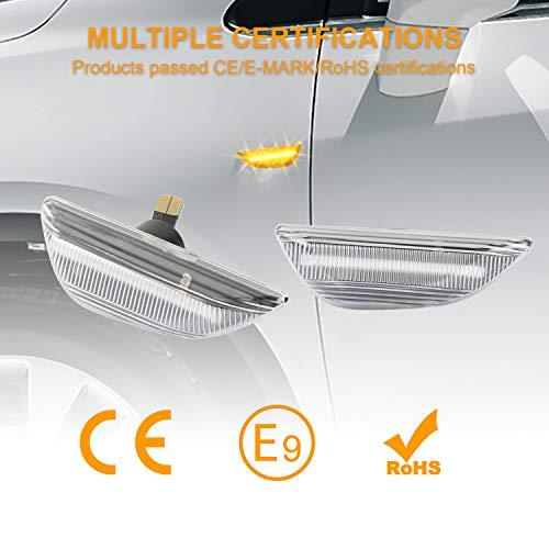OZ-LAMPE Indicadores laterales din/ámicos Luz de se/ñal de giro Luz de marcador lateral que fluye Transparente para Ope-l Mokka 2012-2016 Mokka X 2016 ~ Chevrole-t Trax 2013 ~