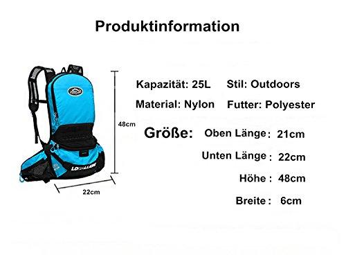 West Biking Ultraleicht 630g Fahrrad Rucksack 25L mit Helmhalterung/Träger verstellbar Outdoor Sport backpack 5 Farben. Blau