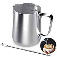 Stainless Steel Milk Jug, 350ML Handheld Coffee Creamer Milk Frothing Pitcher Jug Cup with Measurement Mark and Latte Art Pen, Milk Pitcher Jugs Perfect for Barista Cappuccino Espresso Making