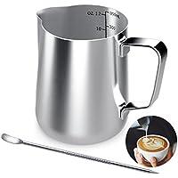 Jarra de leche de acero inoxidable, 350 ml, taza de café de mano con marca de medición y lápiz artístico de leche, jarras de leche perfectas para hacer café Barista Cappuccino Espresso