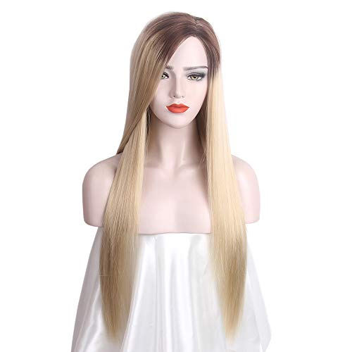 STfantasy Ombre Braun Blonde Damen Perücken Lange Gerade Größe Teil Kunsthaar Kostüm für Frauen Täglichen Verschleiß Cosplay Party Kostüm