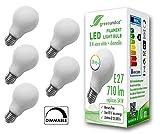 5x greenandco® CRI90+ Glühfaden LED Lampe dimmbar ersetzt 54 Watt E27 Birne matt, 8W 710 Lumen 2700K warmweiß Filament Fadenlampe 360° 230V AC nur Glas, flimmerfrei, 2 Jahre Garantie
