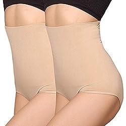 ANGOOL Femme Culotte Gainante Taille Haute Panty Invisible Amincissante Ventre Plat Minceur Serre Taille Panty, 2pcs Lot Beige, XL