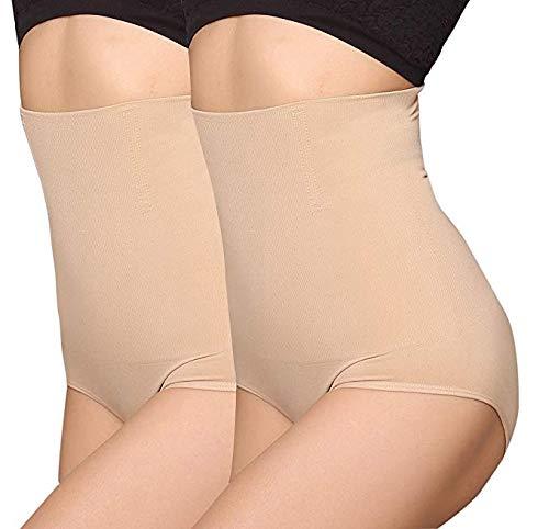 ANGOOL Femme Culotte Gainante Taille Haute Panty Invisible Amincissante Ventre Plat Minceur Serre Taille Panty,2pcs Lot Beige,XL