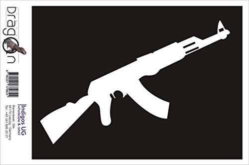 INDIGOS UG Aufkleber Autoaufkleber - JDM Die Cut Auto OEM - AK 47 Kalaschnikow Russland Maschinengewehr - 210x70 mm Silber - Auto Laptop Tuning Sticker Heckscheibe LKW Boot