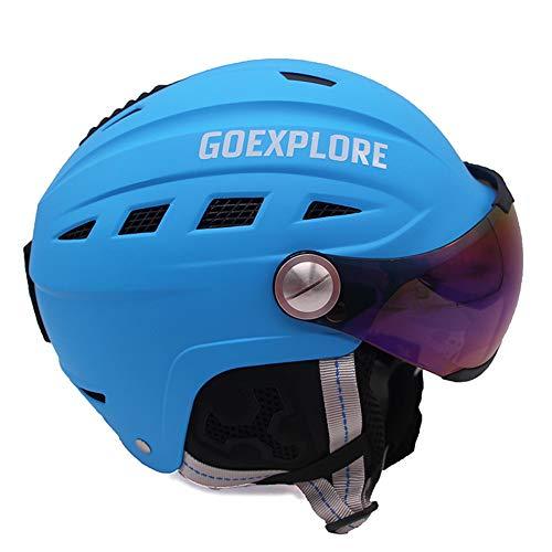 Skihelm Halbe Abdeckung Erwachsene Frauen Männer Outdoor Sport Licht Helm Mit Brille Maske Schnee Getriebe Skateboard Snowboard Helm Kind,Blue,L