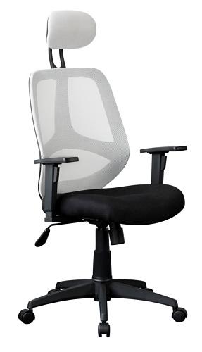 AMSTYLE Bürostuhl SPM1.209 Stoffbezug Weiß Schreibtischstuhl 120kg Armlehne Chefsessel Drehstuhl Kopfstütze XXL ergo