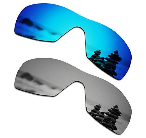 SmartVLT Herren Ersatzgläser für Oakley Dart Sonnenbrille One Size Ice Blue & Silver Titanium