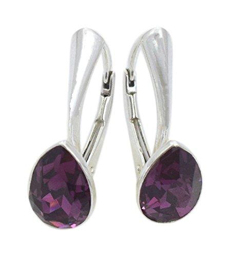 Crystals & Stones NEUHEIT - Tropfen - Wundervolle Ohrringe - Farbvarianten - Silber 925 Schön Damen Ohrringe mit Kristallen von Swarovski Elements - Wunderbare Ohrringe (Amethyst)