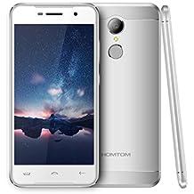 "HOMTOM HT37 Android 6.0, 3G 5.0"" HD pulgadas pantalla, desbloqueado Dual-SIM Smartphone, Altavoces dobles&Luces de respiración, Quad Core 8.0MP + 2.0MP Cámara Huella digital 4K Vídeo 32G Memoria,2 GB RAM + 16 GB ROM UE enchufe (Plata)"