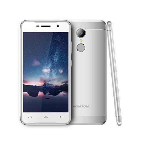 "Smartphone Libres Baratos, HOMTOM HT37 Moviles Android 6.0 de 5.0"" Full HD (3G, 2GB RAM + 16GB ROM, 8.0MP + 2.0MP Cámara, Altavoces Dobles, Luces de Respiración, Dual-SIM, Huella Digital) (Plata)"