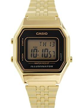 CASIO Damen-Armbanduhr Digital Quarz Edelstahl LA-680WG-1