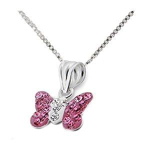 FIVE-D Set Kette Kinder Anhänger Schmetterling Kristalle 925 Silber in Geschenkbox