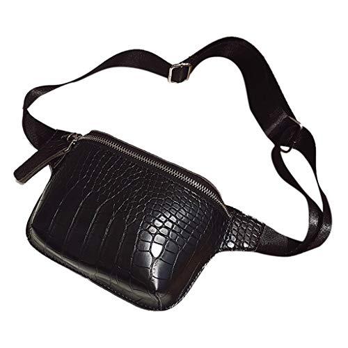 Katsaz Damen Krokodil Korn Leder Brusttasche Umhängetasche Einfarbig Beiläufig Schultertasche Mit Einstellbar Gürtel (Black) -