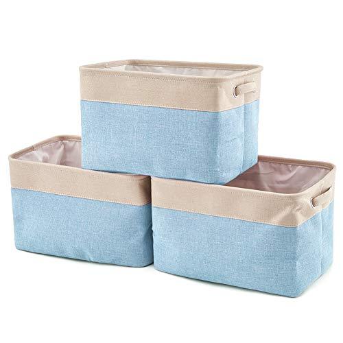 EZOWare Faltbare Aufbewahrungsbox aus Leinen Aufbewahrungskorb mit Griffen - 3er Set (Creme/Blau)