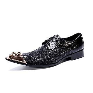 XLY Herren Loafer Patchwork aus echtem Leder Metall Spitze Spitzschuh Schnürschuh auf Kleid Hochzeitsschuhe,46