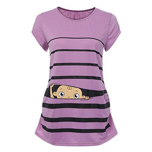 Damen Weiß-mutterschafts-t-shirt (Damen Sommer Kurzarm Umstandsmode Lustige Baumwolle Weste Tops Witzige süße Umstandsmode T-Shirt Schwangere Frauen Baby in der Tasche T-Shirt Top Oberteil für Schwangere)