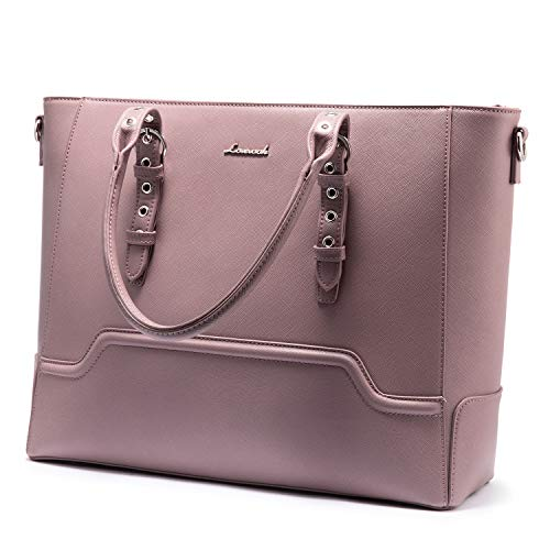 Laptoptasche Damen Handtasche 15.6 Zoll Laptop Handtasche Damen Shopper Tasche Business Schultertasche für Interview/Arbeit/Geschäft/Hochschule - Pink Lila