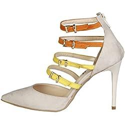V 1969 - SELINE_BEIGE-ARANCIO-GIALLO Damen-Pumps Und Ferse Hoch Fersen Stilette Fersen: 9.5 cm
