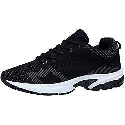 XKMON Hombre Zapatos para Correr en Montaña y Asfalto Aire Libre y Deportes Zapatillas de Running Padel para (41, Negro1)