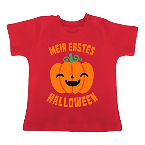 Anlässe Baby - Mein erstes Halloween Kürbis - 6-12 Monate - Rot - BZ02 - Baby T-Shirt Kurzarm (Kürbis Kostüm Pi)