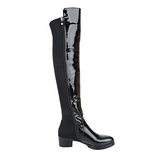 Ital-Design , Bottes classiques femme noir brillant
