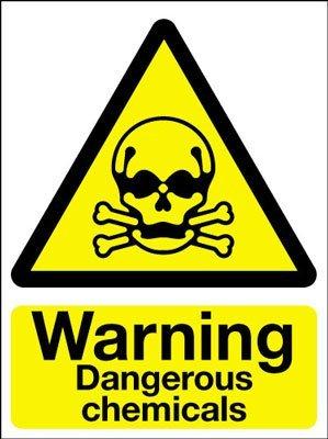 Cartello di sicurezza segnale di pericolo, attenzione sostanze chimiche pericolose