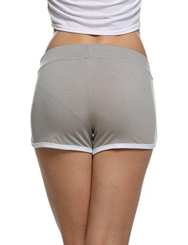 cooshional Damen Shorts Sommer Baumwolle Kurz Hose Sport-Shorts Grau