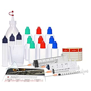 Mixing set for liquids, starter set with mixing bottle, liquid bottles (empty bottles), dosing syringes, measuring cup and funnel for mixing, mixing of liquids