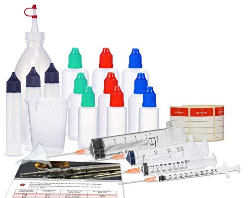 Octopus E-Liquid Misch-Set, Starter Set für E-Zigaretten mit Mischflasche, Liquidflaschen, Dosierspritzen, Messbecher und Trichter Zum Mischen, Mixen von E-Liquid