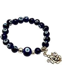 Jaz's Evil Eye-Buri Nazar-Buri Drishti-Blue Bead-Bracelet-Good Luck Protection BeadsStretchable Bracelet+ Ganesha...