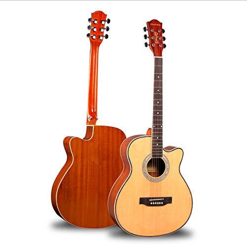 Boll-ATur Akustische Gitarre Full Size 40-Zoll-Fichte Cutaway Gitarre Anfänger Starter Studenten Kids Bundle mit Gig Bag, Ständer, Tuner, Picks, Gurt Sapele Wood Side Panel (Log Farbe)